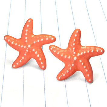 coral starfish earrings - coral earrings - coral studs - coral jewelry - starfish earrings - starfish studs - starfish jewelry - coral