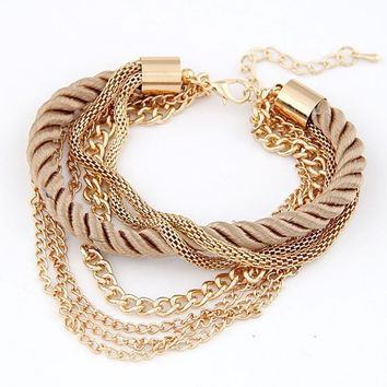 Bohemian Temperament Woven Gold Color Chain Braided Rope Multilayer Bracelet Women Jewelry Accessories