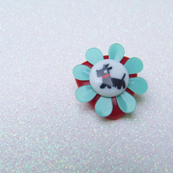 Black White Puppy Scotty Dog Brooch - Kawaii Cute Pin - Red Plastic Cabochon - Teal Blue Flower - Simple Layered Plastic Pin
