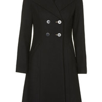 Longline Double Breasted Coat - Black