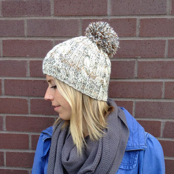 Cabled Pom Pom Beanie in Ivory with Silver, Gold and Copper Threads, Ski Hat or Snowboard Beanie, Handknit Hat, Silver and Gold Ombre Beanie