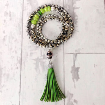 Sugar skull necklace day of the dead  necklace dia de los muertos jewelry sugar skull tassel necklace grey and green skull necklace