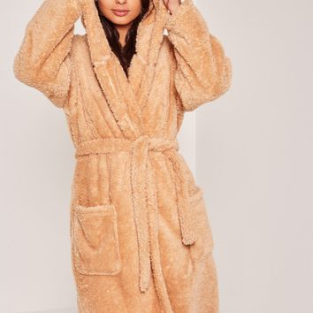 Missguided - Brown Soft Fleece Teddy Dressing Gown