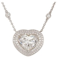 GIA Certified Platinum 18 Karat Gold and Diamond Heart Pendant Necklace 9.16 ctw