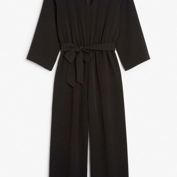 V-necked jumpsuit - Black magic - Jumpsuits - Monki GB