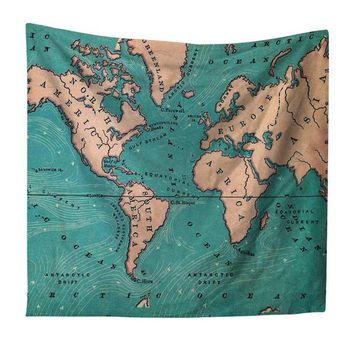 The Ocean Blue Map Tapestry