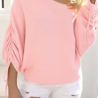 Trendy dew shoulder long sleeve pink cotton pullover