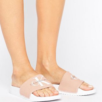 Calvin Klein Jeans Chantal Blush Pool Slides at asos.com