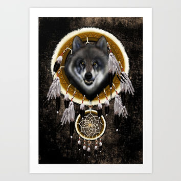 Indian Native Gray Wolf Dreamcatcher iPhone 4 5 6 7, ipod, ipad, pillow case and tshirt Art Print by Three Second