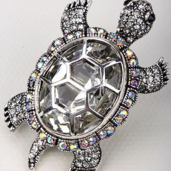 SHIPS FROM USA Big turtle stretch ring antique gold silver color W crystal silk scarf jewelry gifts for for women girls