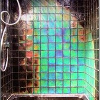 Moving Color Northern Lights Heat Sensitive Color Changing 4X4 Glass Shower Tile