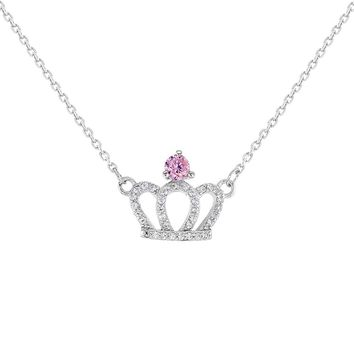 925 Sterling Silver Pink Clear CZ Princess Crown Necklace Girls Kids 16""