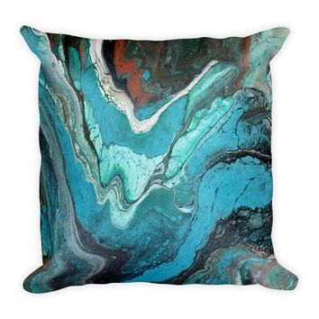 Turquoise Blue Marble Square Pillow - Turquoise Throw Pillow - Turquoise Stone Rock Accent Pillow - Turquoise Blue Copper Marble Pillow