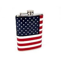 8oz Stitched American Flag Flask