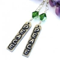Peace Word Earrings, Pewter Linear Charms Fern Green Swarovski Crystals Handmade Jewelry