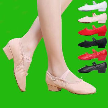 Quality Dancing Shoes For Women Middle Heel Leather Girls Women's Ballet Dance Shoes Belly Yoga Dance Shoes Teachers's Shoes
