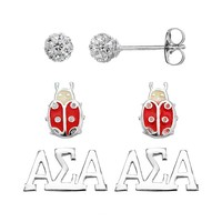 Sunstone 925 Sterling Silver Alpha Sigma Alpha Sorority Stud Earring Set (White)