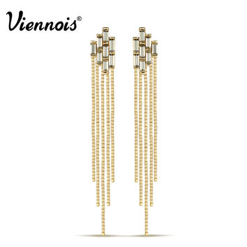 Viennois Brand New Fashion Long Tassel Drop Earrings for Women Gold Plated Geometric Crystal Dangle Earring Vintage Jewelry