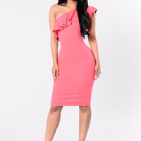 Frill Seeker Dress - True Coral