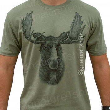 Moose T-shirt - Husband Gift Funny Animal print with glasses Hunting tshirt tee shirt humor graphic shirt books reading geek Christmas Gift