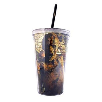 Official, The Walking Dead, Plastic Tumbler/Travel Mug/Cup with Reusable Straw and Screw on Lid, BPA FREE, Pack of 1