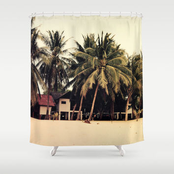 Bungalow Huts - Shower Curtain, Beach Style Vanity Bathroom Accent, Sand and Green Surf Chic Palm Trees Landscape Curtain. In 71x74 Inches