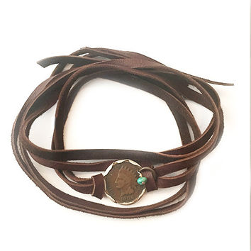 Liberty Wrap Bracelet Brown Deerskin