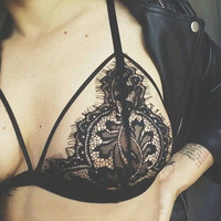 Comfortable Stylish Lace Sexy Bralette Hollow Tops Bra [7331387523]