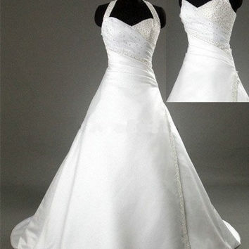 A-line Halter Chapel Train Satin Wedding Dresses With  Beading Free Shipping