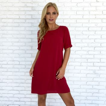 Take The Lead Shift Dress In Red
