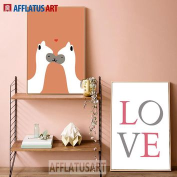 Alpaca Love Wall Art Canvas Painting Posters And Prints Picture Nordic Style Kids Decoration