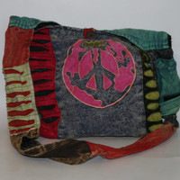 90s peace sign purse hobo bage tie dye tote market bag canvas duffel grunge punk boho hippie cyber goth pastel bright colors