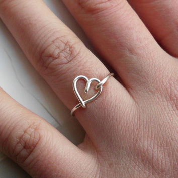 Silver Wire Heart Ring nonadjustable Dainty by WireBoutique2012