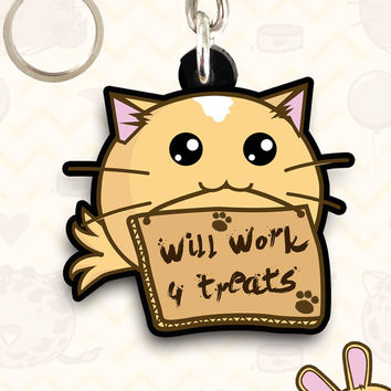 Kawaii Keyring Fuzzballs Will Work For Treats Cute Charm Gift Idea Mom Sister Chibi Japanese Cute Cuteness Adorable Cartoon Jewelry Charm