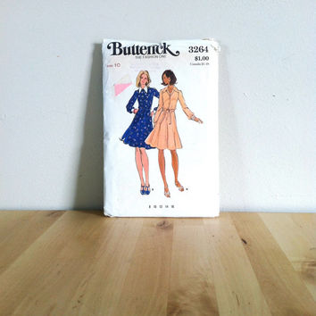 Butterick 3264 Misses' Semi-Fitted and Flared Dress {1970s} Vintage Sewing Pattern
