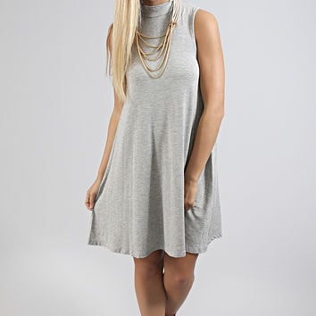 rock solid tank dress - heather gray