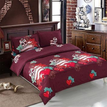 4Pcs Sugar Skull Bedding Set Flower Heart Print Dark Red Duvet Cover Bed Sheet bed linens Pillowcase Halloween Home Textile D30