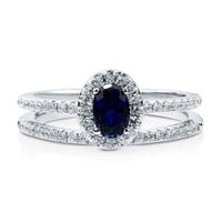 Oval Sapphire CZ 925 Sterling Silver 2Pc Halo Wedding Ring Set 0.43 Ct #r671-sp