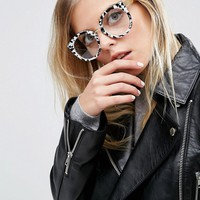 ASOS Geeky Kitten Glasses With Clear Lens And Mono Marble Acetate Finish at asos.com