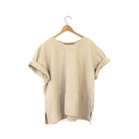 Beige Cotton Blouse Boxy 90s Shirt Slouchy Minimal Short Sleeve Top Oversize Tee Hipster Boho Loose Fit TShirt Vintage Large XL