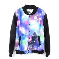 Zero Men's Exaggerate Slim Galaxy Baseball Jacket