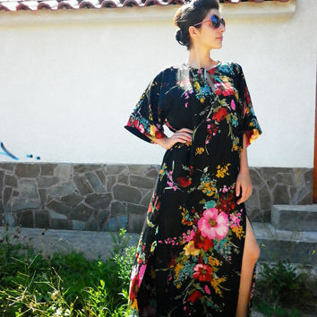 Handmade Floral Long Abaya / Maxi Plus Size Dress / Summer Party Dress / Everyday Loose Dress / Black Evening Dress by moShic D002