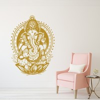 Wall Decal Elephant Vinyl Stickers Decals Yoga Ganesh Tribal Buddha Om Lotus Home Decor Indie Elephant Wall Art Boho Bedding Bedroom x125