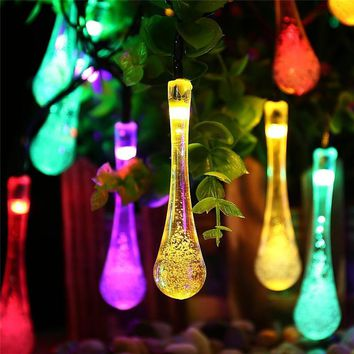 Premium Quality 6m 30 LED Solar Christmas Lights 8 Modes  Waterproof Water Drop String Lights for Outdoor