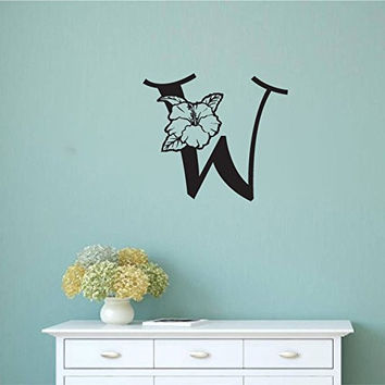 Monogram Letter Initial with Tropical Hibiscus Flower Vinyl Wall Words Decal Sticker Graphic