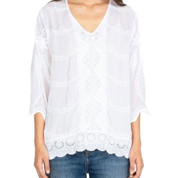 Johnny Was Milani Tunic White
