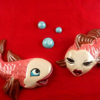 Adorable Vintage Fish and Bubble Wall Plaques