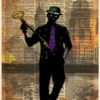 The Riddler, batman villain art, superhero splatter print