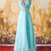 """AQUA FORMAL EVENING PROM LONG PAGEANT BRIDAL PARTY GOWN DRESS XS 2/4 """"MARISA"""""""