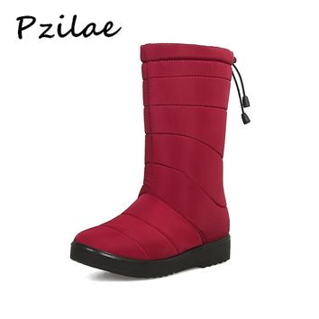 Pzilae 2018 Newest winter women snow boots elastic band woman warm boots round toe thick fur platform boots ladies booties shoes